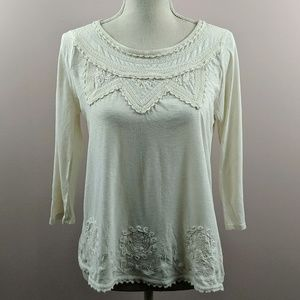 Lucky Brand Embroidered Boho Shirt 3/4 Sleevees
